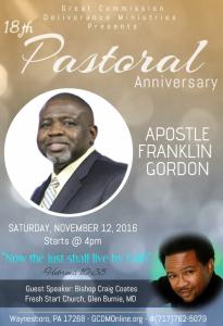 18th Pastoral Anniversary @ Great Commission Deliverance Ministries | Waynesboro | Pennsylvania | United States